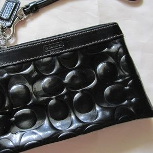 Embossed COACH Patent Leather Wristlet